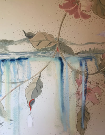 """Cocoon House"", 2015 gouache, oil stick on wallpaper, 14x10"""