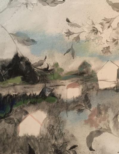 """Campsite Hand Painted"", 2015, gouache on archival paper, 13x8"""
