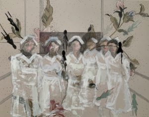 6 Nurses, 2020 | 18x22 Mixed media with gouache on archival paper