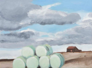 "Blue Hay Bales, 2005 | 11"" x 14"" Oil on Canvas"