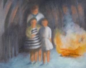 "Bonfire   16"" x 20"", Oil on Panel"