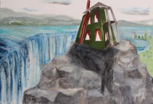 "Hilltop House, 2014| 30"" x 24"" Gouache, graphite, oil stick"