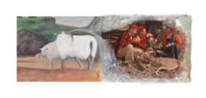 "Sheep's Revenge, 2009 | 8.5"" x 21"", Mixed Media Iris Prin"