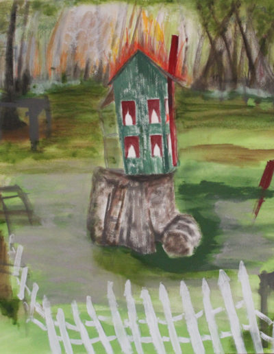 "Swamp House, 2014 | 24"" x 30"" Gouache, graphite, oil stick"
