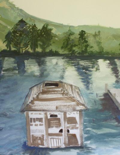 "Waterhouse Docks. 2014 | 24"" x 30"" Gouache, graphite, oil stick"